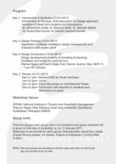 02 Thinking Hand Workshop 12 to 15 jan 2017 @ Brief, Venue and Time