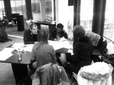 Prof. Gilbert and Ketham Santosh Kumar reviewing master students work at University of Innsbruck
