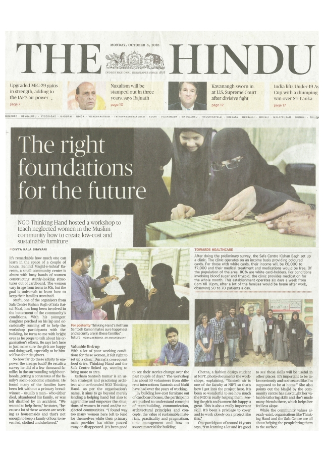 The Hindu News Oct 2018 Thinking Hand-Ketham Santosh Kumar