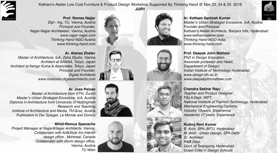 Ketham's Atelier Architects and Thinking hand Workshop jury poster Nov 2018 bw