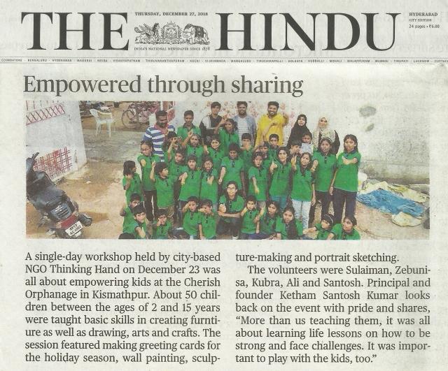 The Hindu News Thinking Hand NGO Empowered through sharing @ kethamsatelier 2018