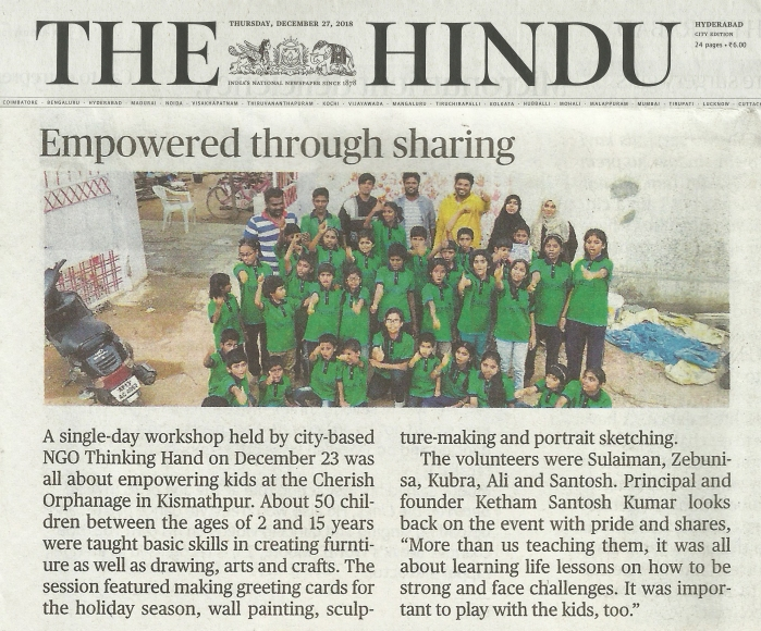 The Hindu News Thinking Hand NGO Empowered through sharing @ kethamsatelier 2018